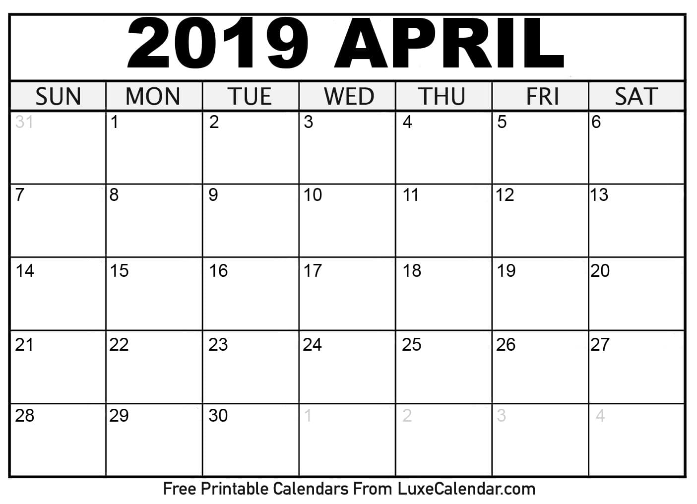 photograph relating to April Calender Printable known as Blank April 2019 Calendar Printable Vacations Template Phrase