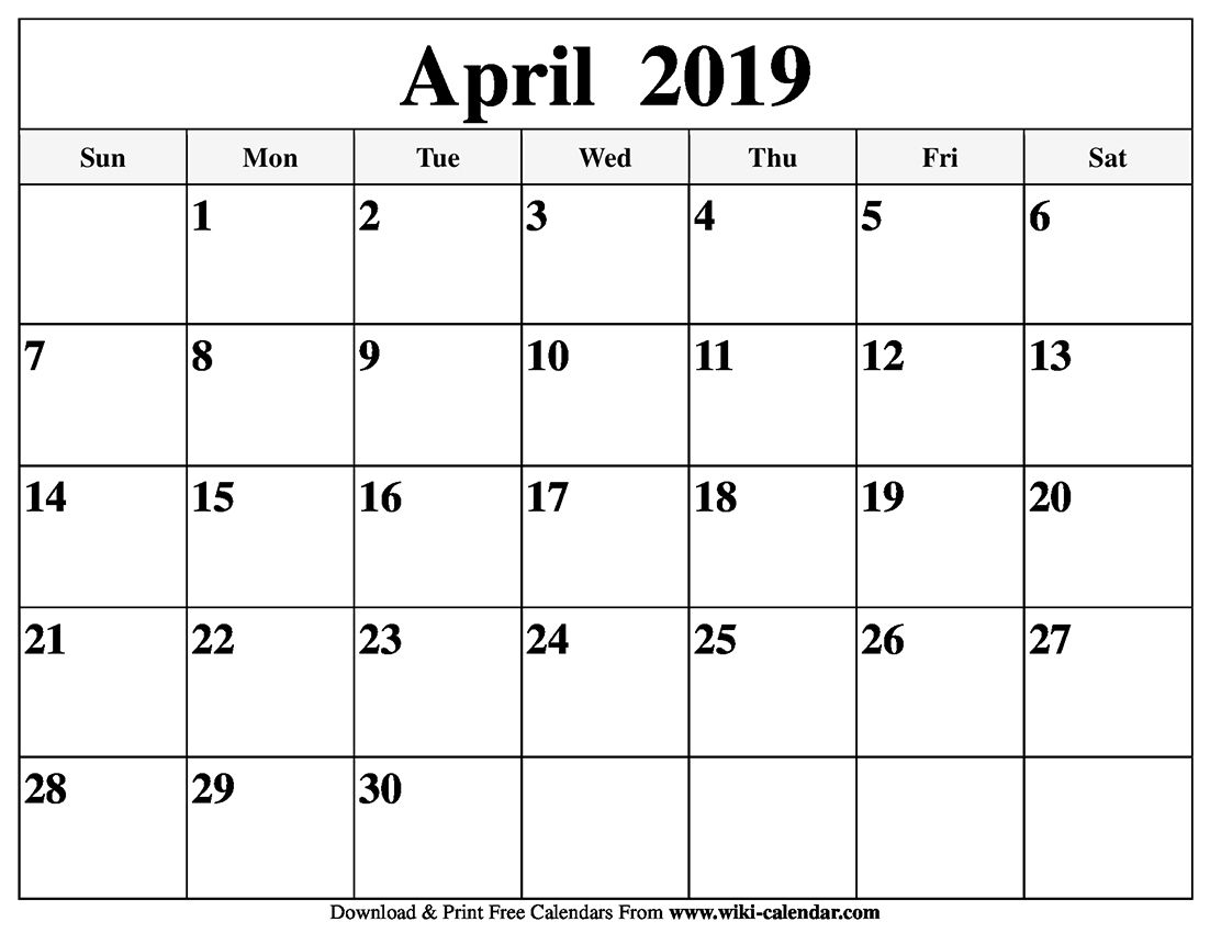 Blank April 2019 Calendar Printable Holidays Template Word Pdf Excel