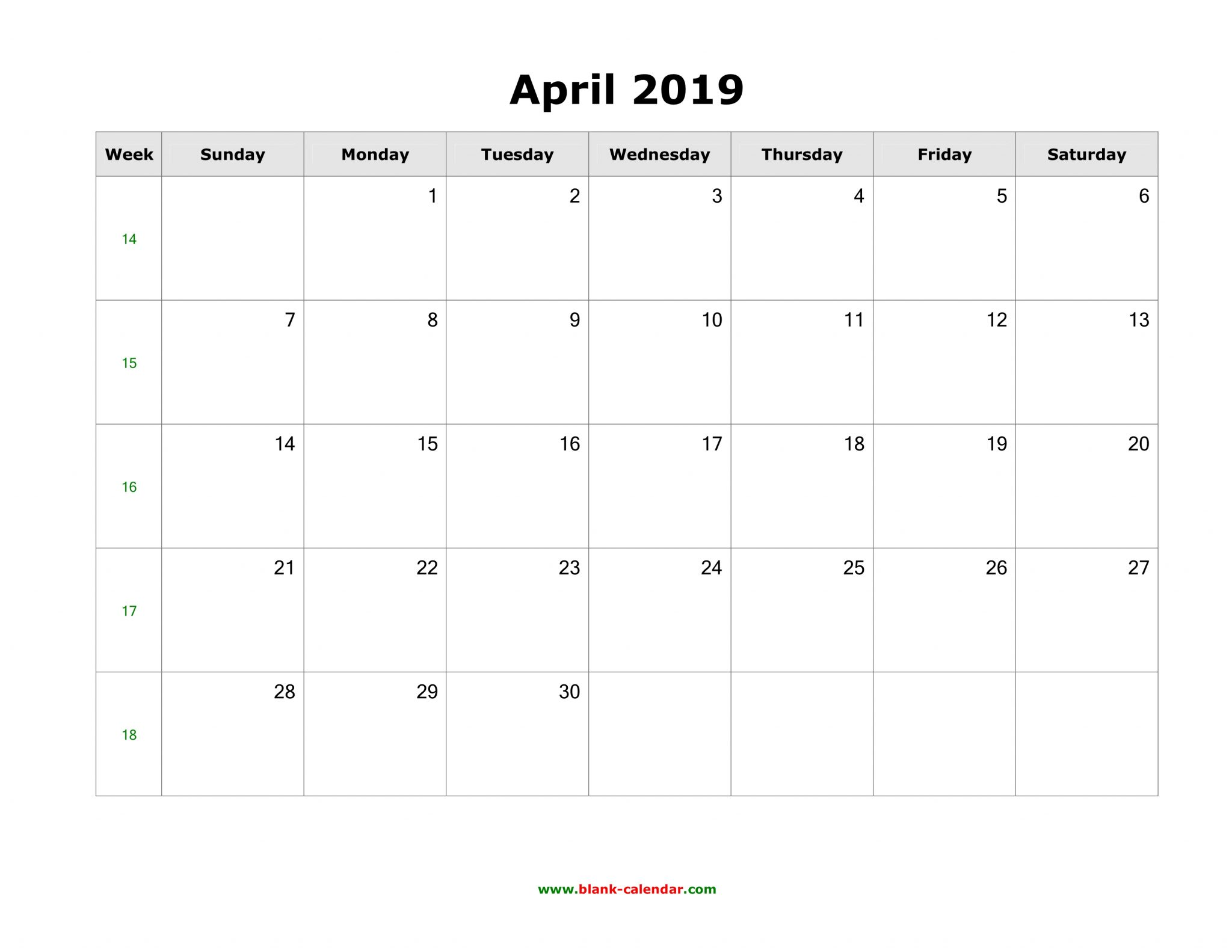 April 2019 Calendar Word