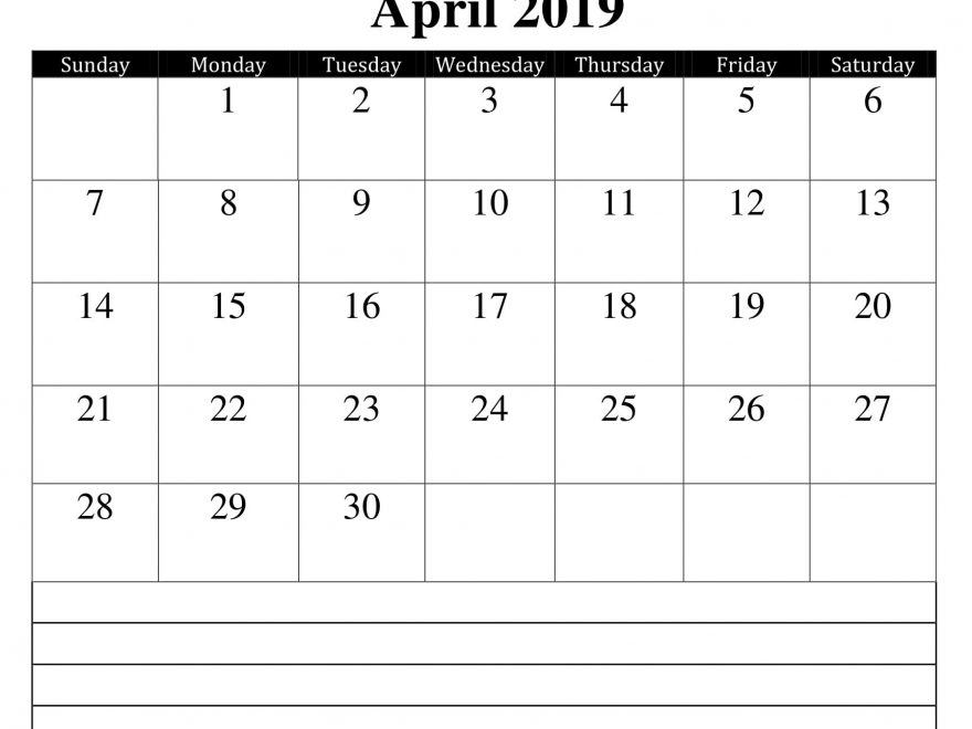 April 2019 Calendar with Notes