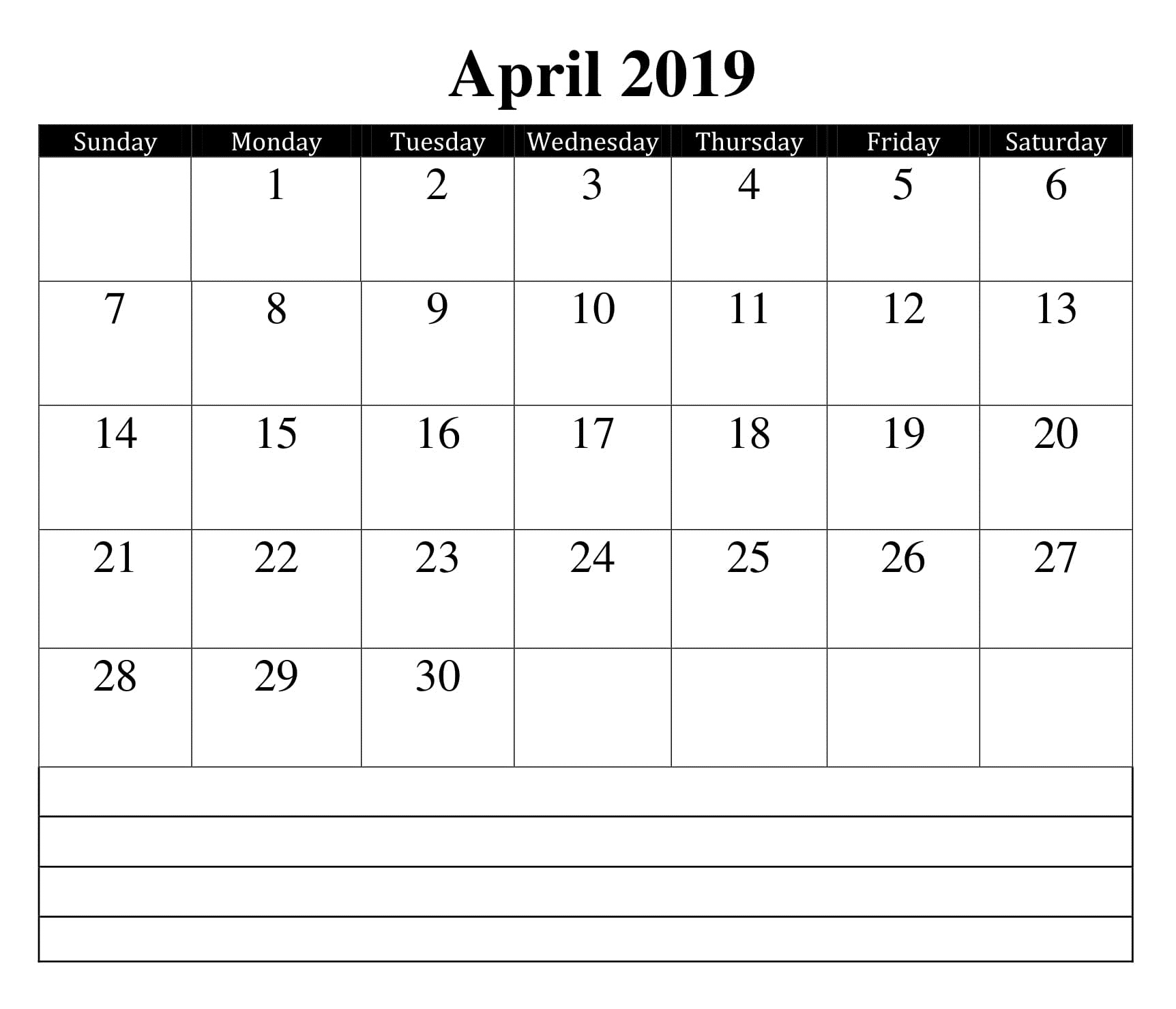 April 2019 Calendar with Notes