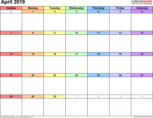 April 2019 calendar printable template