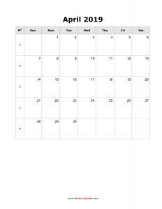 Blank April 2019 Calendar