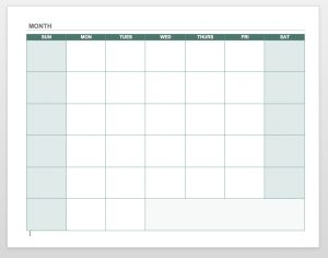 Blank Calendar Grid Template