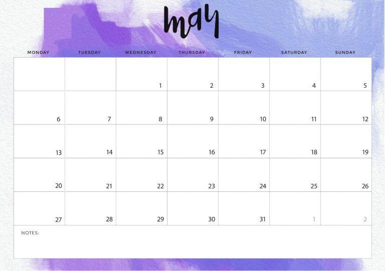 Blank Calendar May 2019 Template