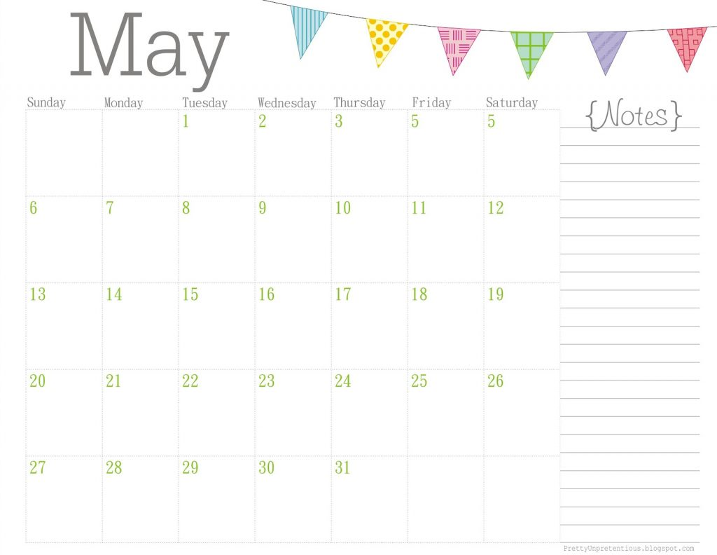 Blank May 2019 Calendar Notes Printable