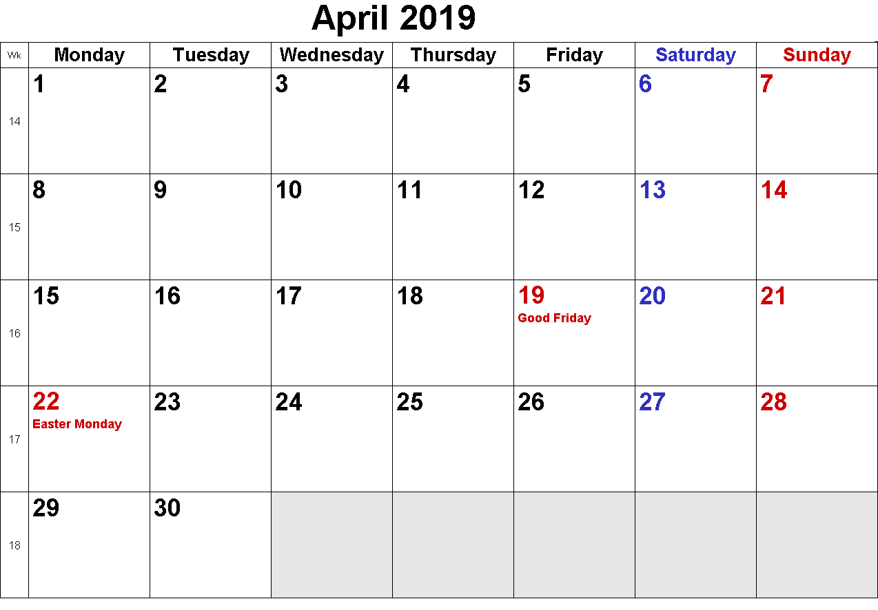 Calendar 2019 April With Holidays