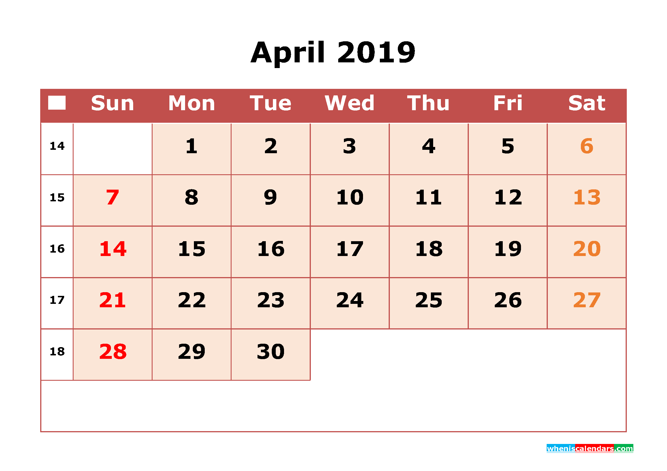 Calendar April 2019 Download