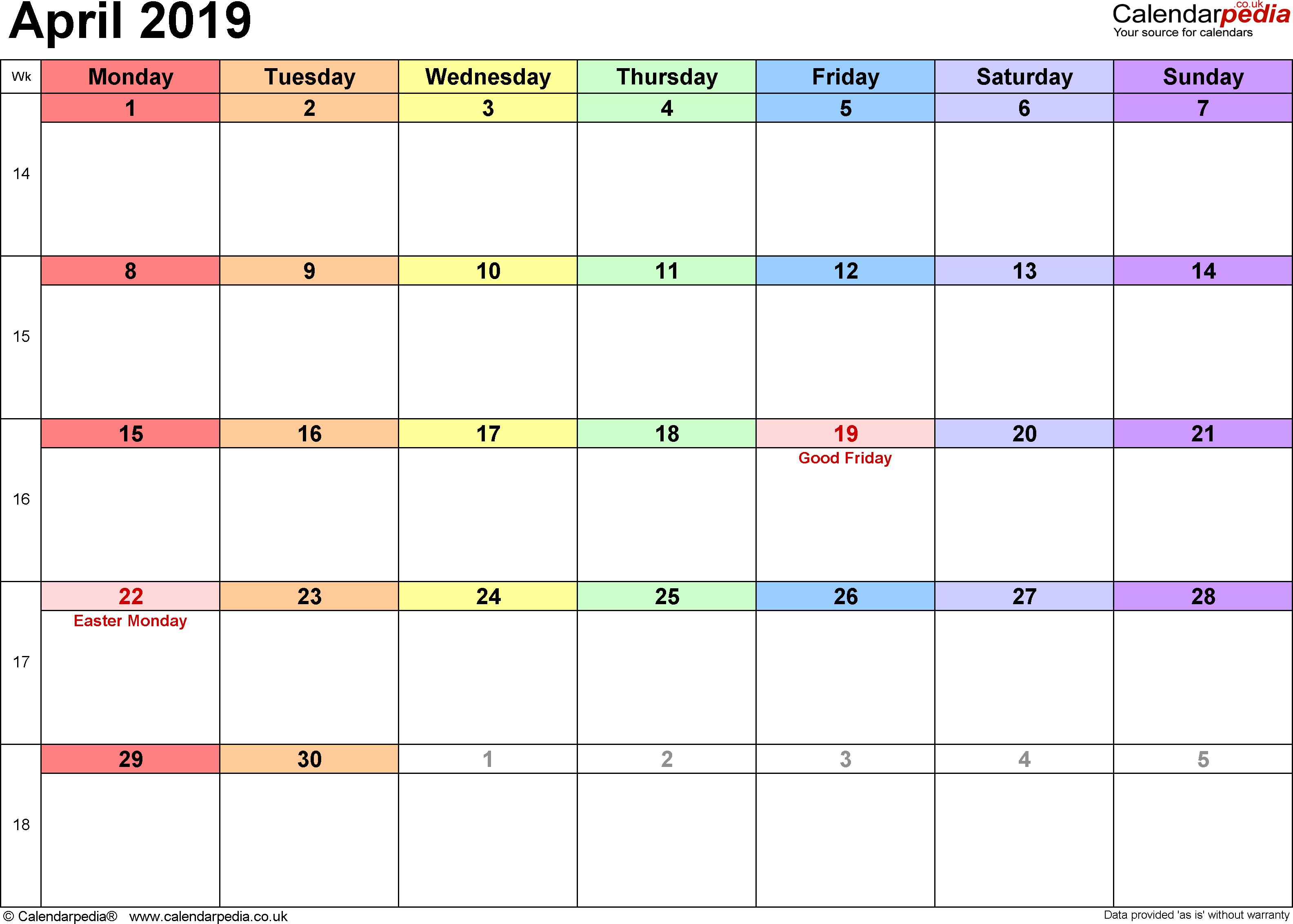Calendar April 2019 Excel