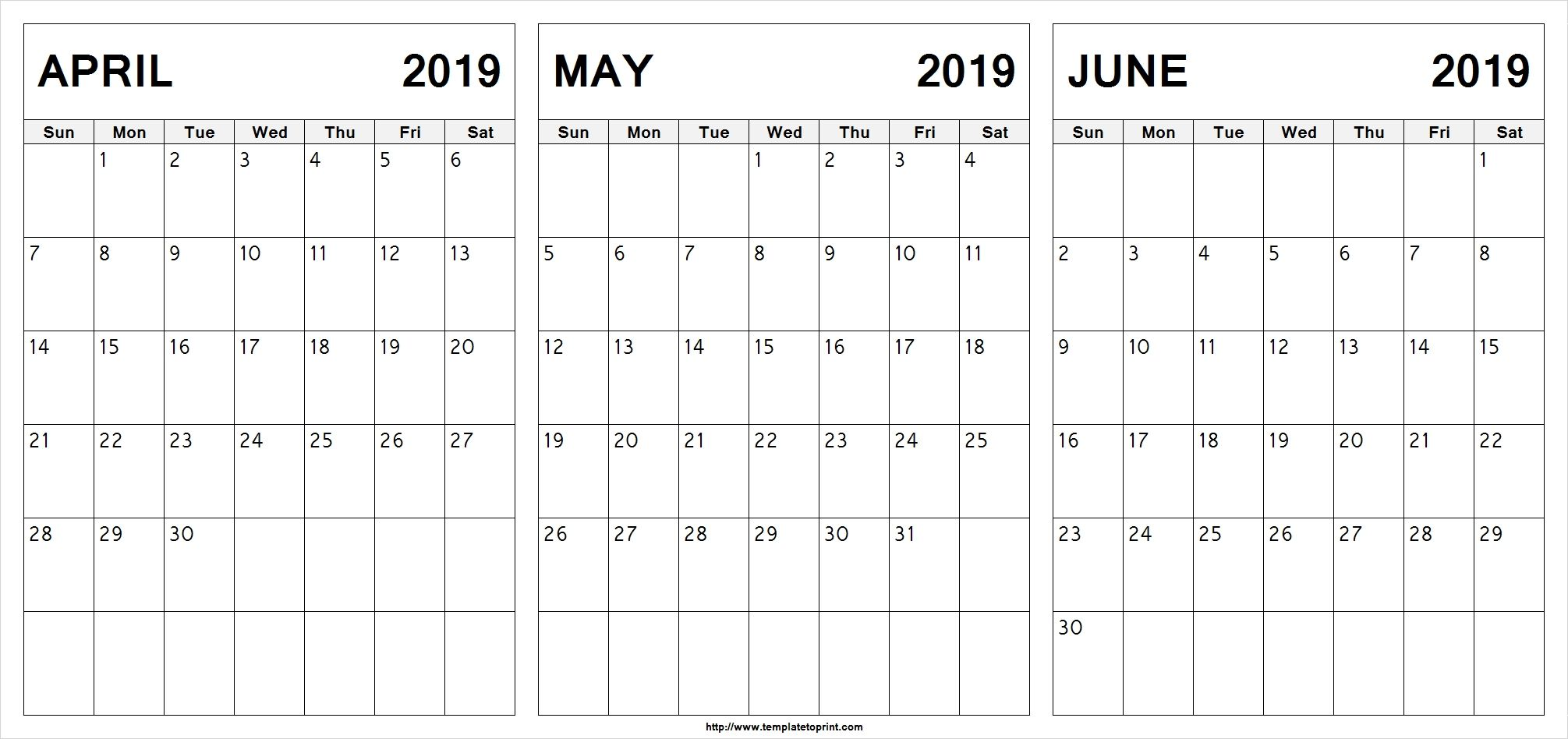 Calendar April May June 2019