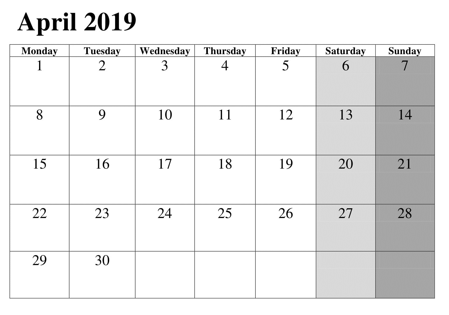 Calendar For April 2019 Printable