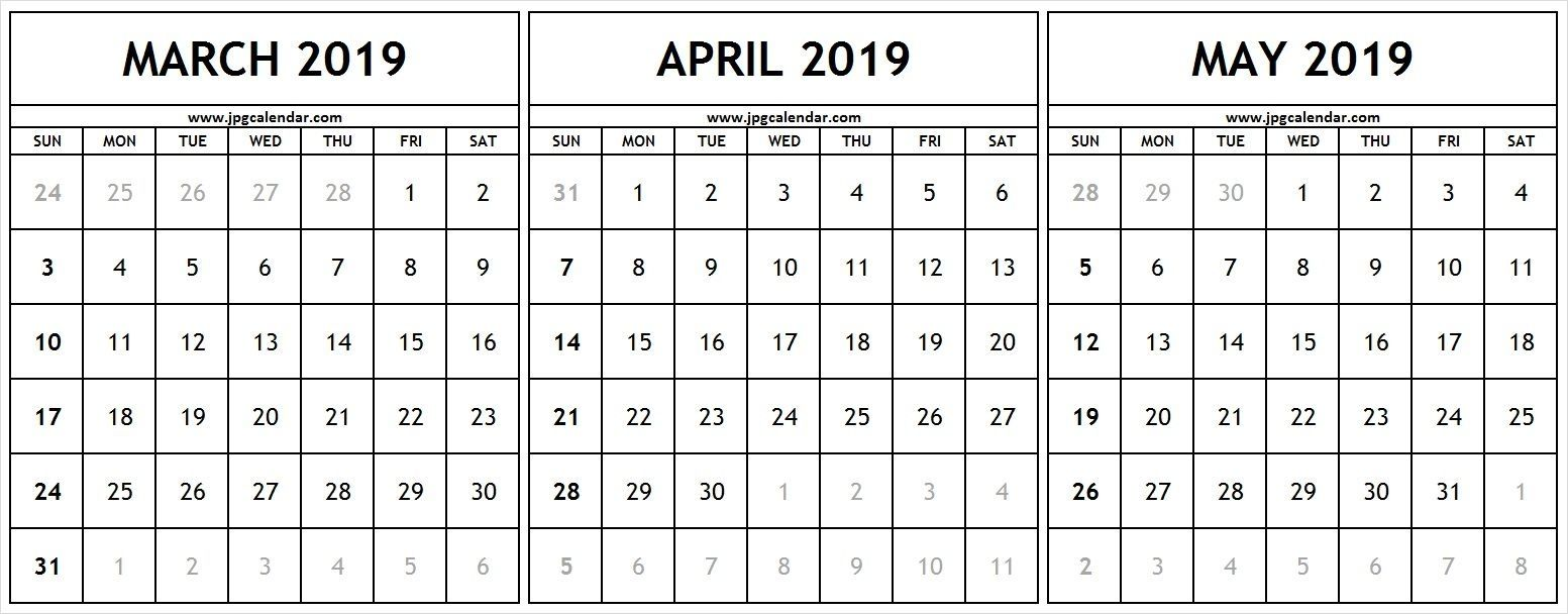 Calendar March April May 2019