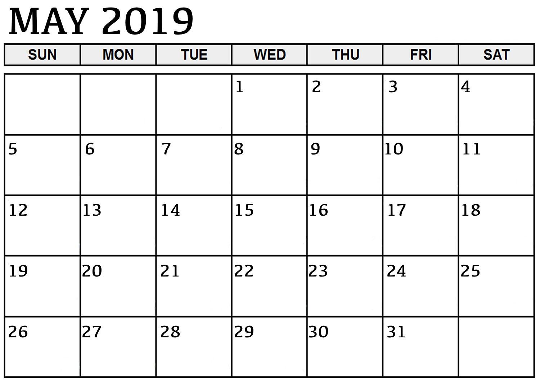 Calendar May 2019 Blank