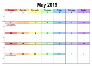 Calendar May 2019 Excel