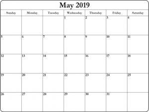 Calendar May 2019 Printable