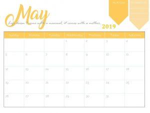 Calendar May 2019 Printable PDF
