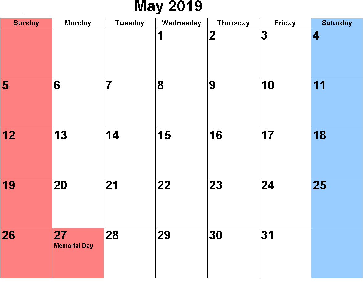 Calendar May 2019 Printable Template