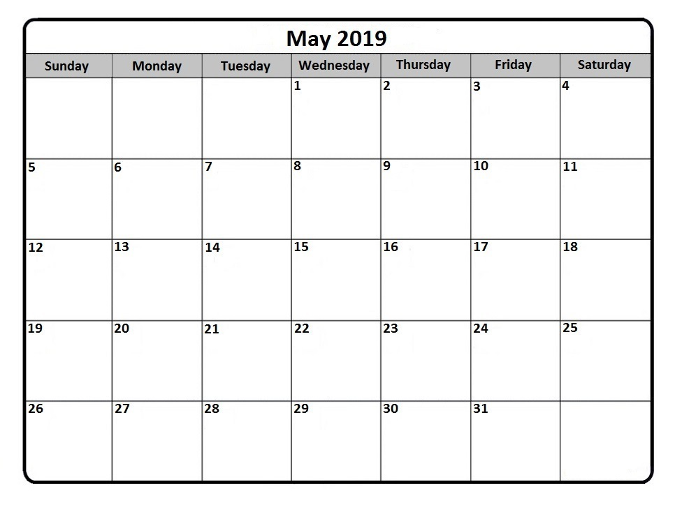 Calendar May 2019 Word Template