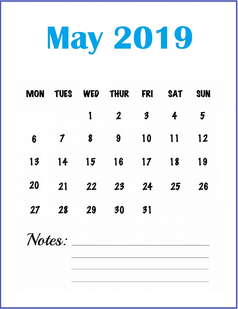 Calendar May 2019 with Notes