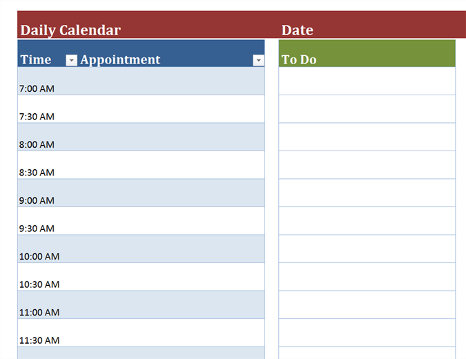 Daily Calendar Appointment Form Template