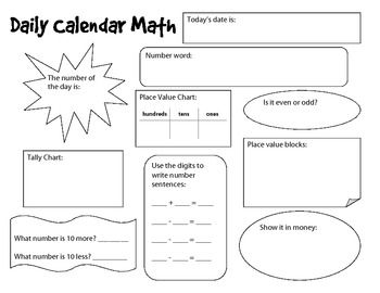 Daily Calendar Worksheets