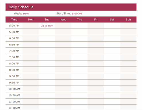 Free Printable Daily Calendar Schedule Templates