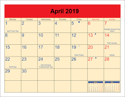 Full April 2019 Moon Calendar