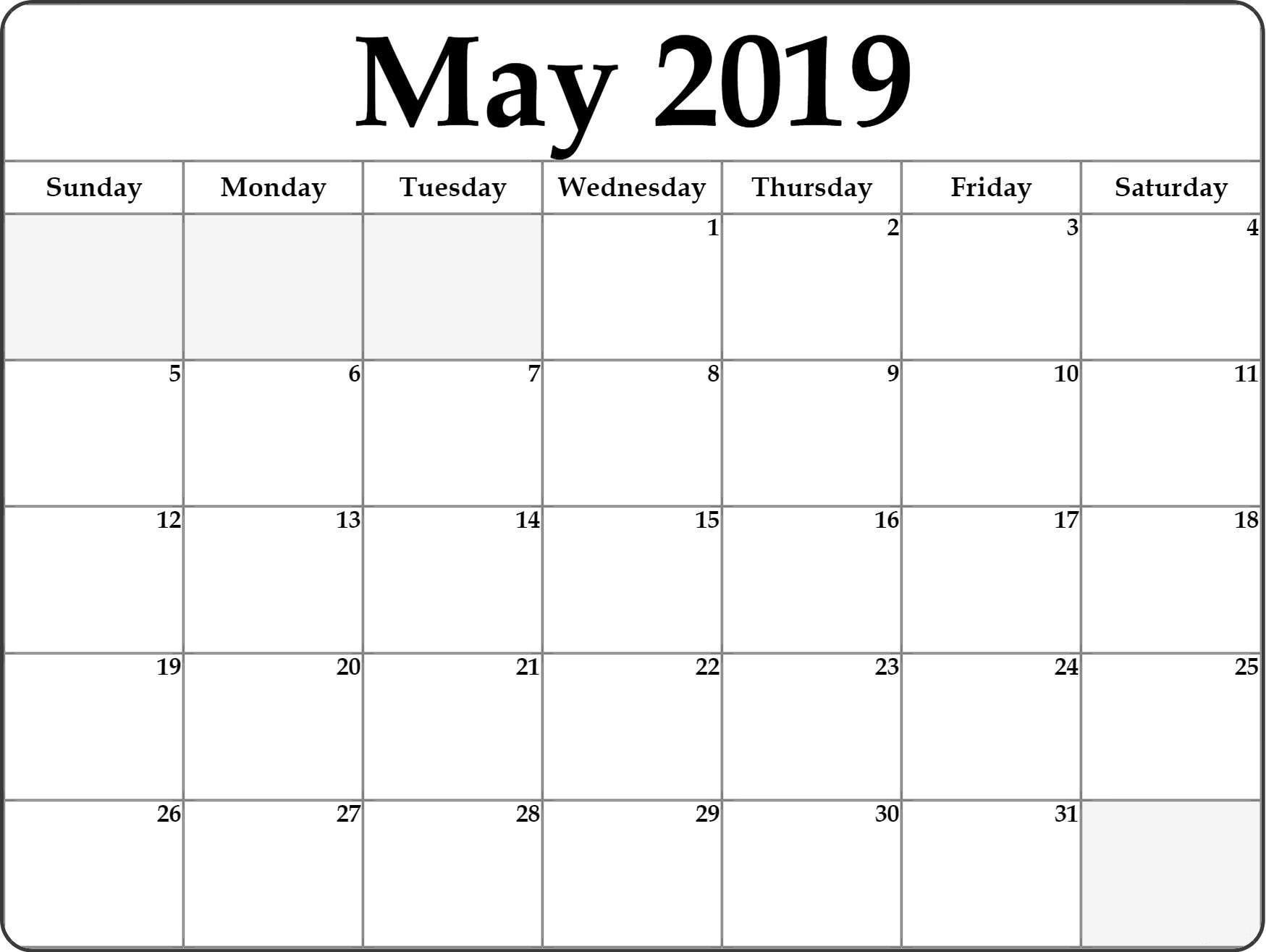 Printable 2019 Calendar May