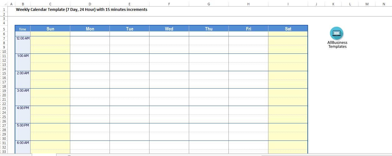 Printable 24 Hour Daily Calendar template