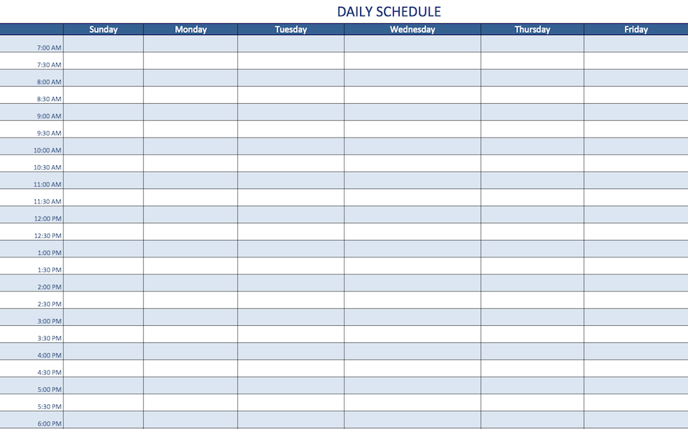 daily calendar template excel