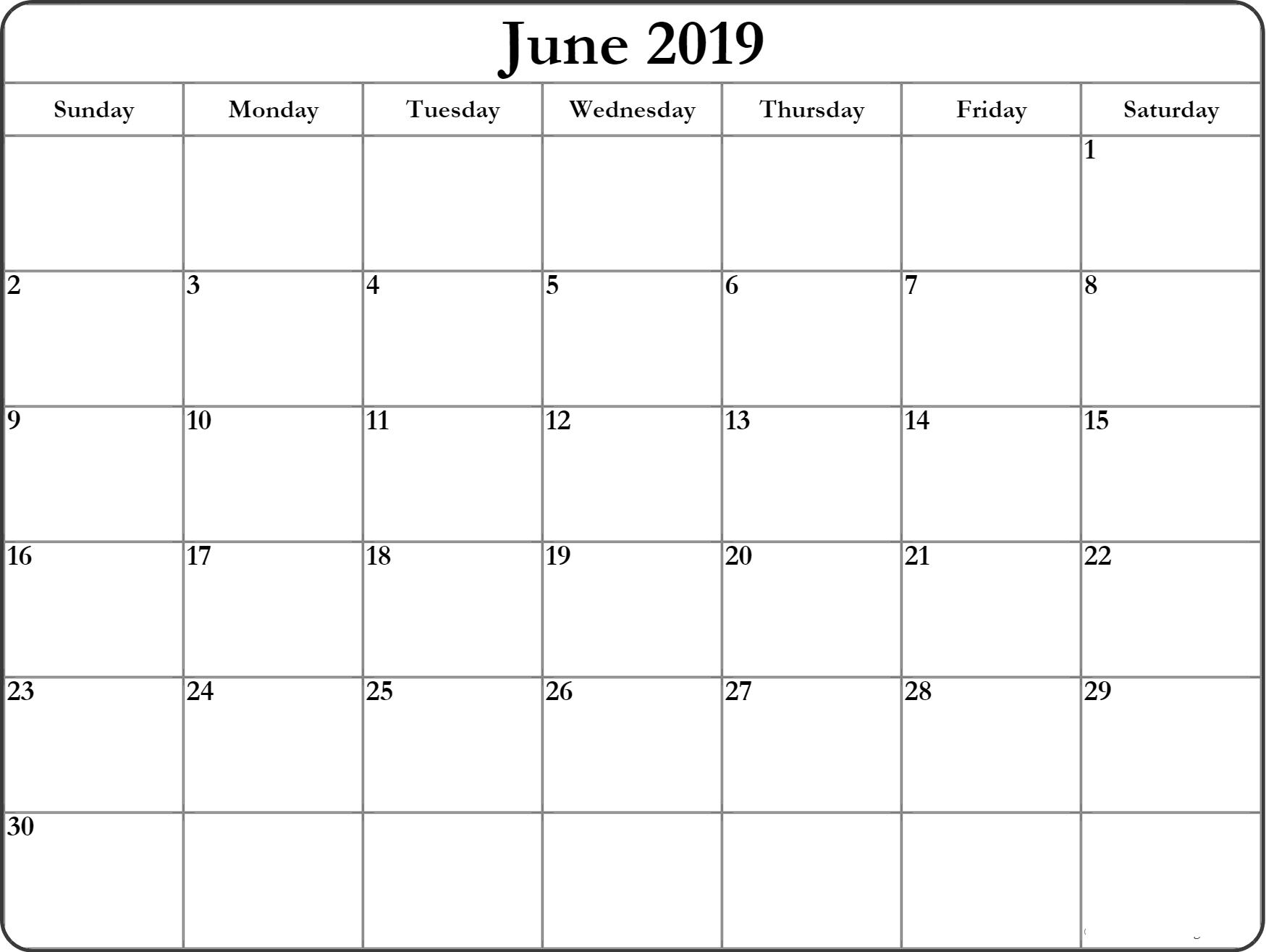 2019 June Printable Calendar