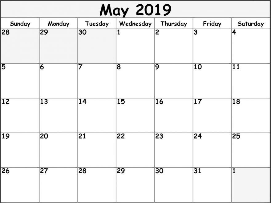 2019 May Calendar