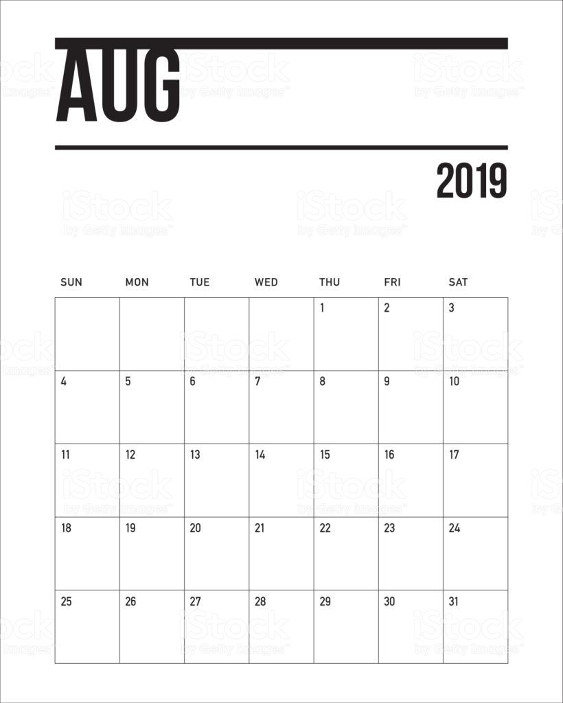 Aug 2019 Calendar Printable