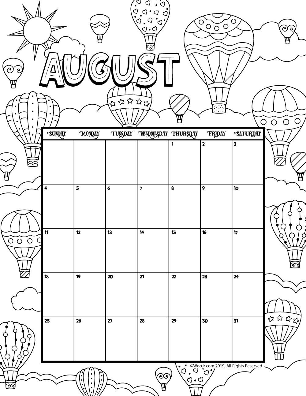 August 2019 Coloring Calendar