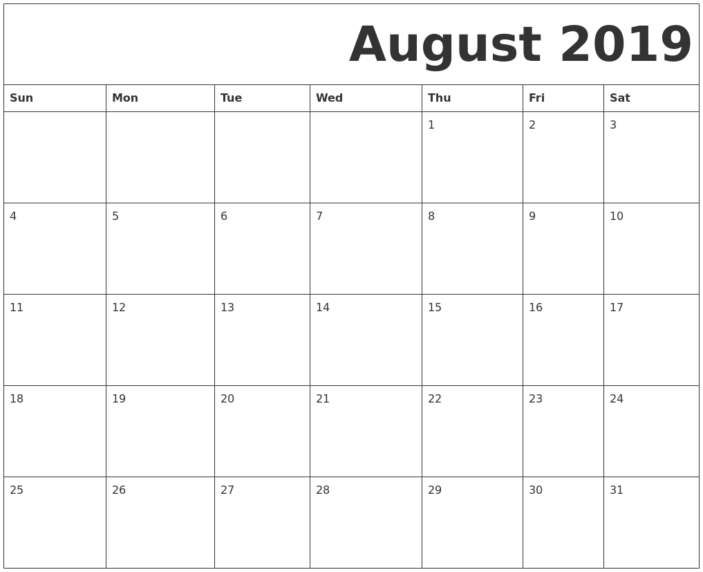 August 2019 Free Printable Calendar