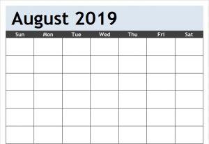 Blank Calendar For August 2019