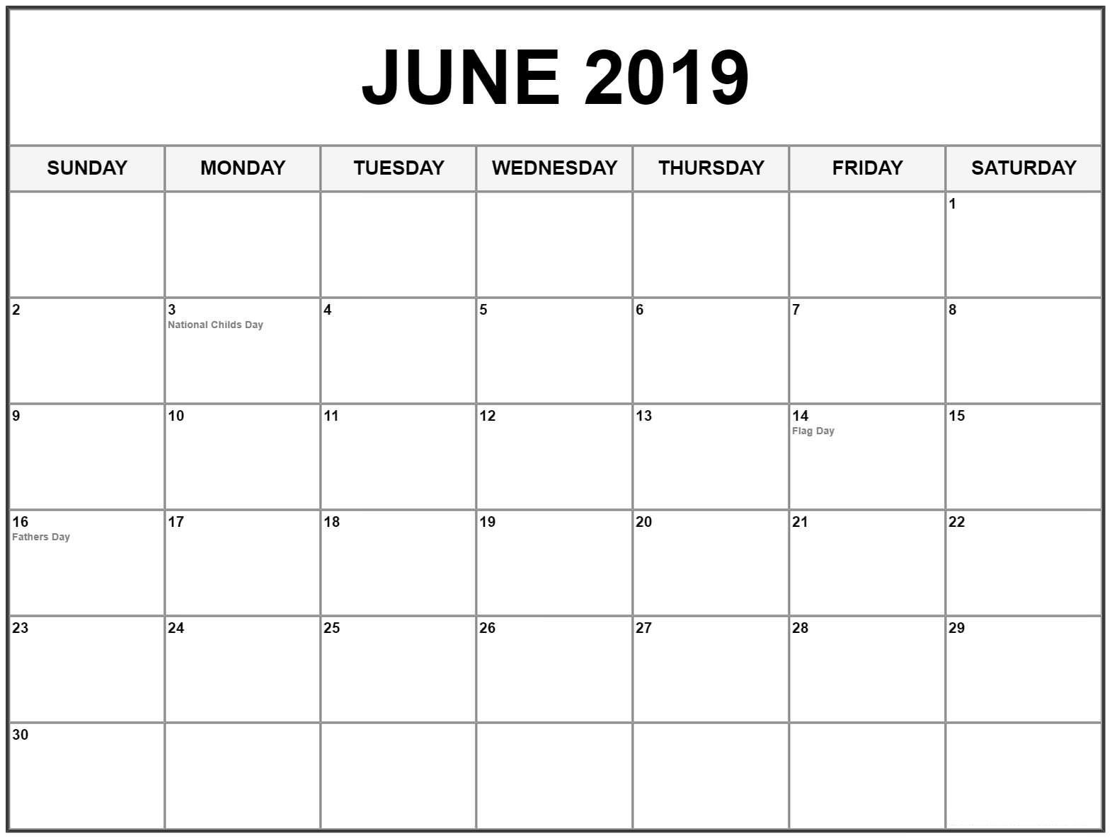 Blank Calendar For June 2019 Template