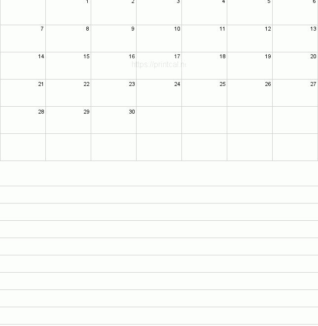 Blank Calendar For June 2020 Printable