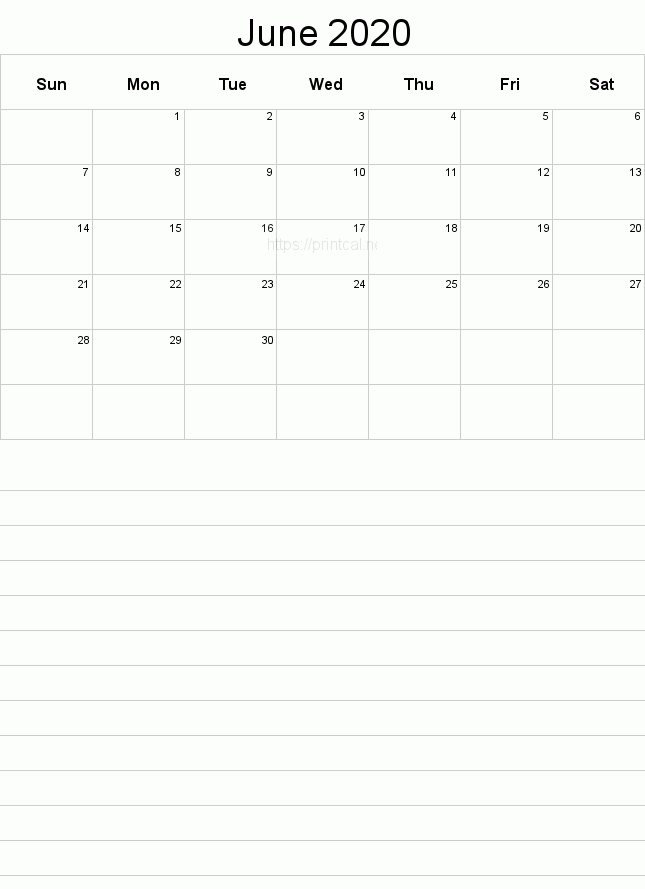 Blank Calendar For June 2020 Printable