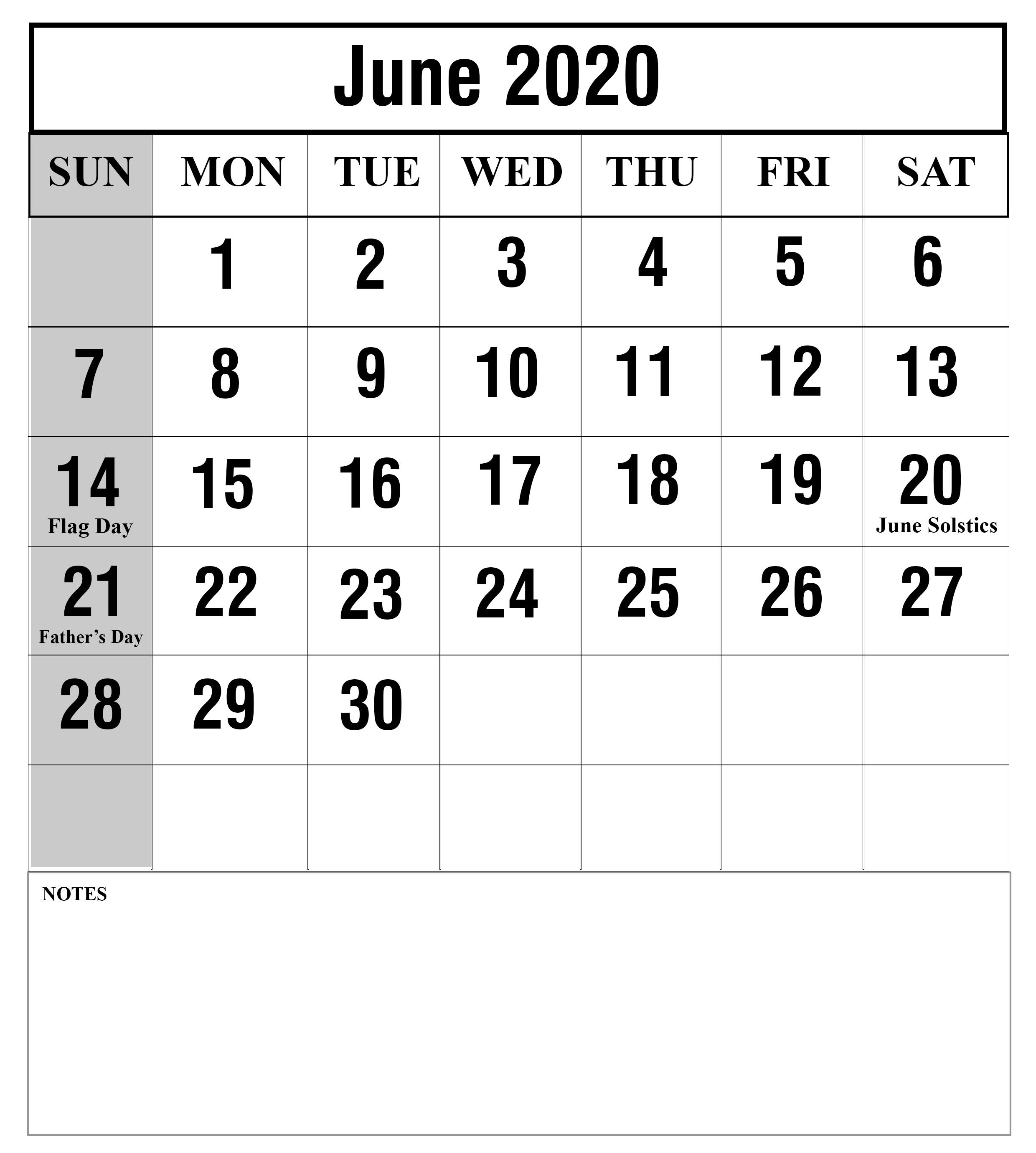 Blank Calendar For June 2020