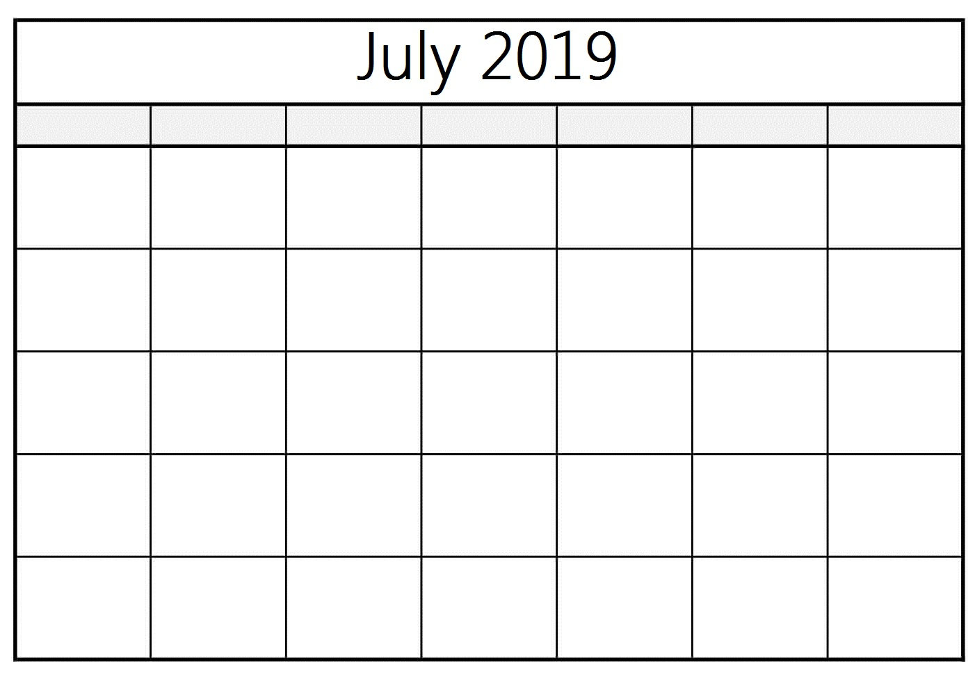 Blank Calendar July 2019 Template