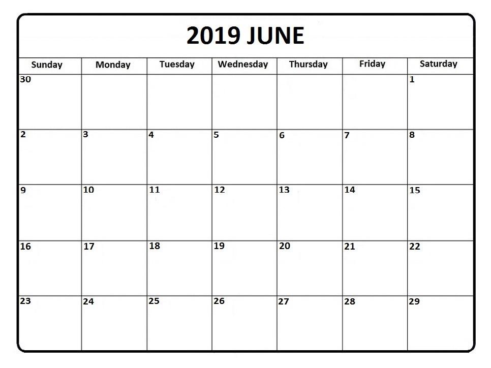 Blank June Calendar 2019 Template