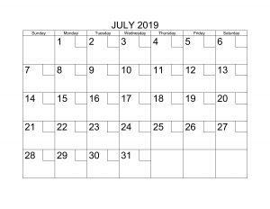Calendar For July 2019 Printable