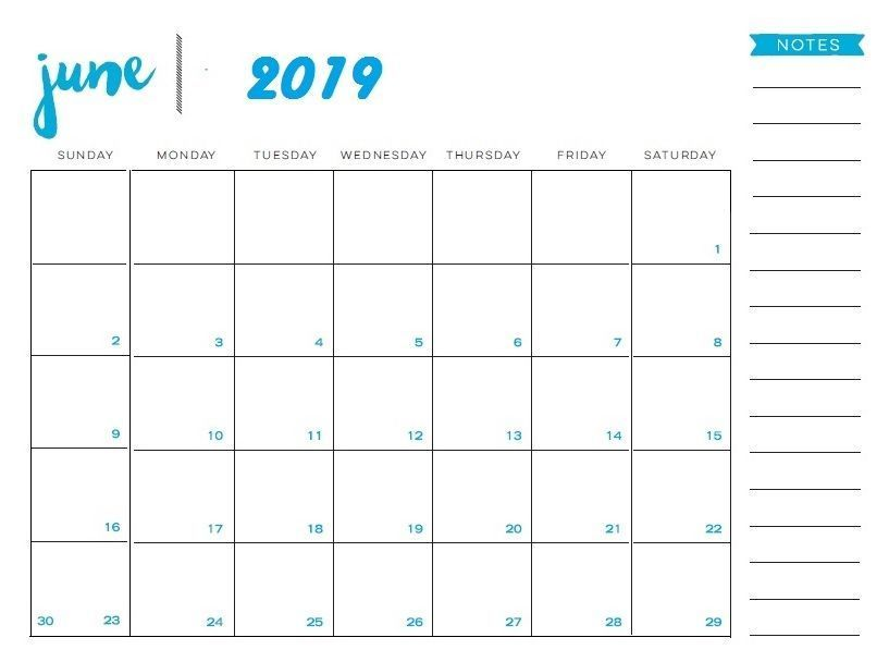 Calendar For June 2019 Printable with Notes
