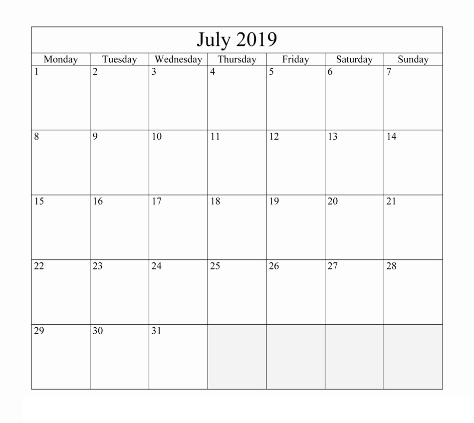 Calendar of July 2019 PDF