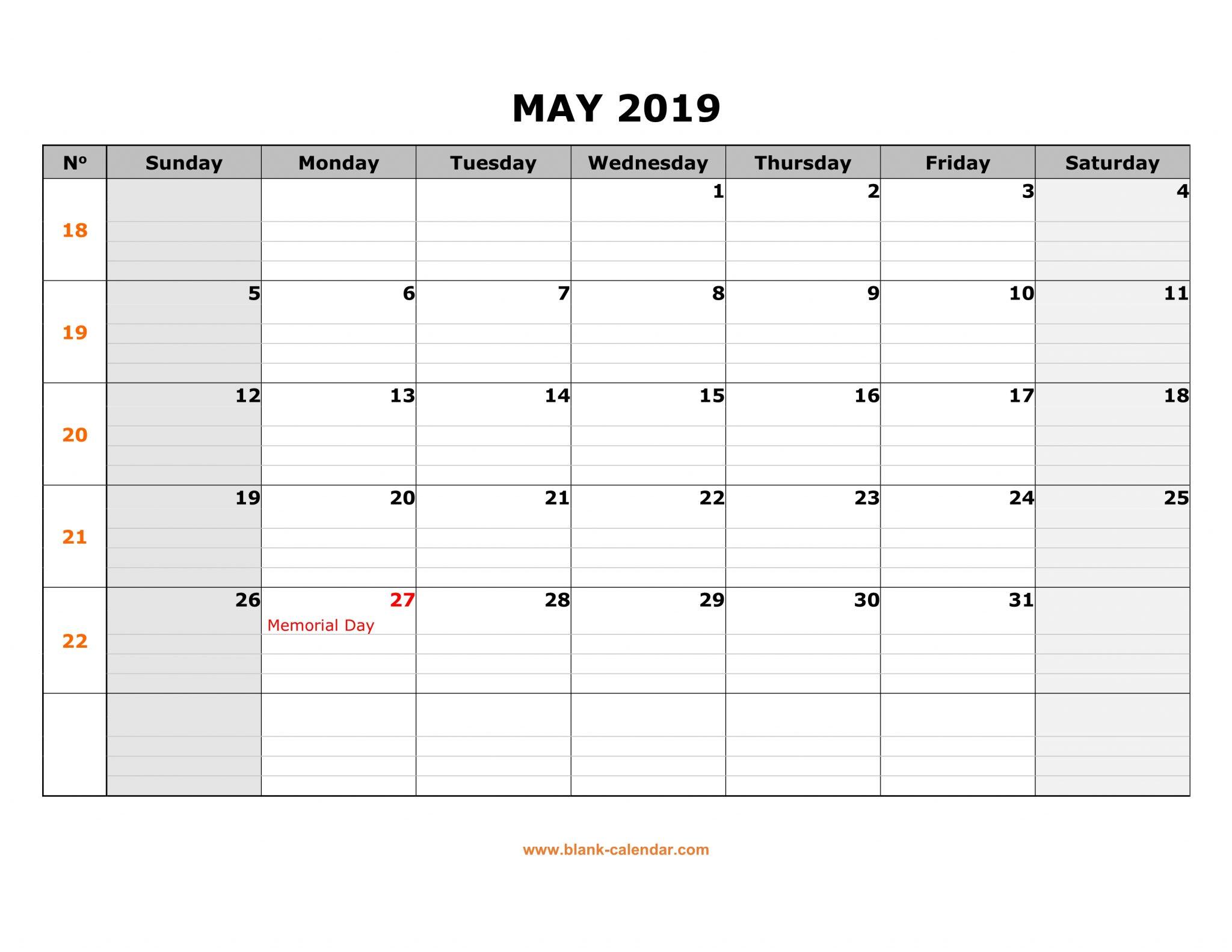 Calendar of May 2019