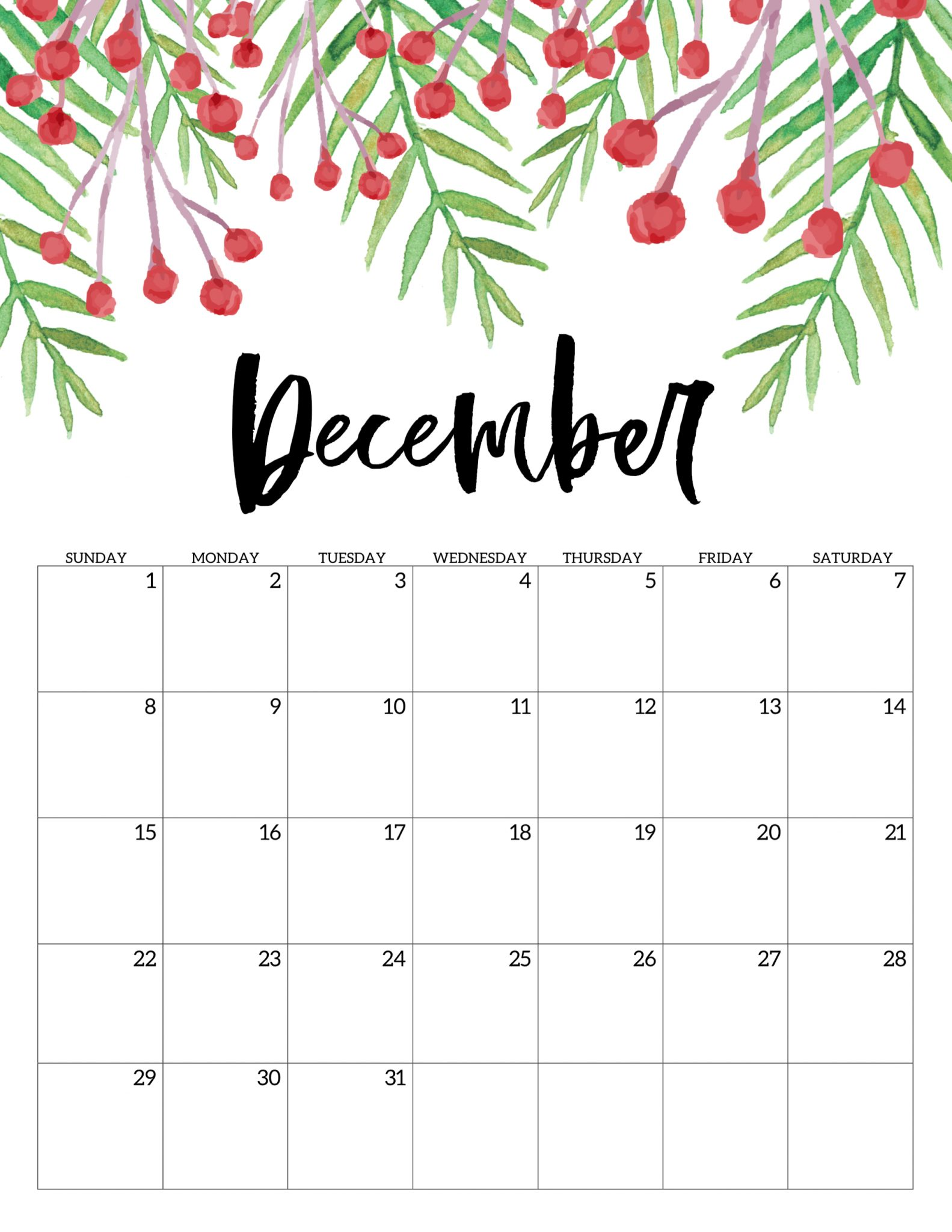 Cute December 2019 Calendar Free Printable