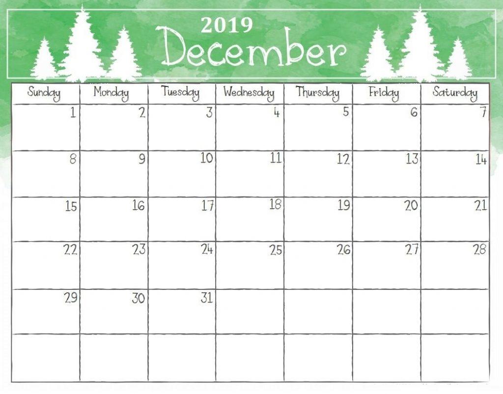 Dec 2019 Calendar Printable Template