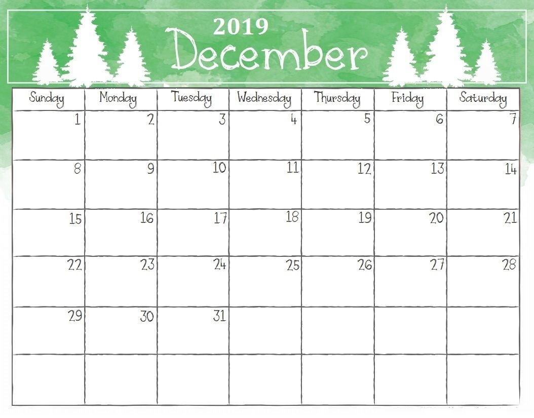 picture relating to Printable Monthly Calendar December referred to as Absolutely free Blank December 2019 Calendar Printable Template inside of PDF
