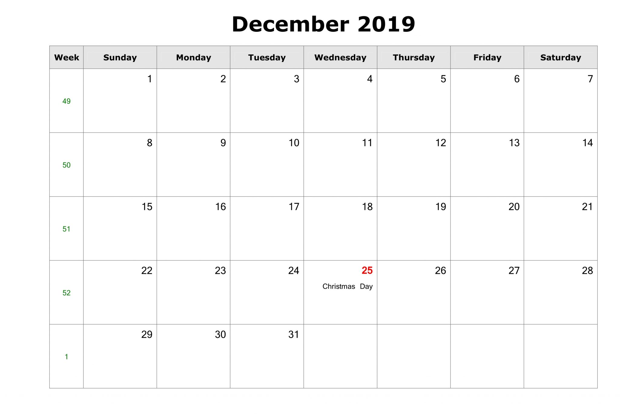 December 2019 Blank Calendar with US Holidays